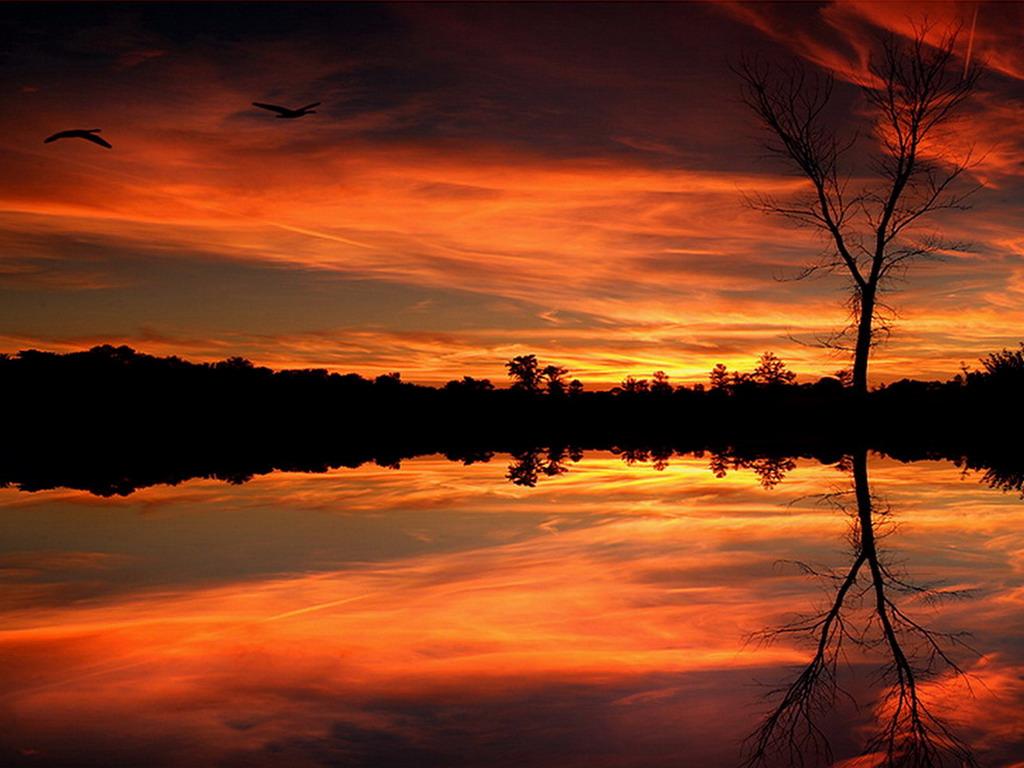 Картинка, Оранжевый закат на озере - бесплатные обои и картинки, обои небо