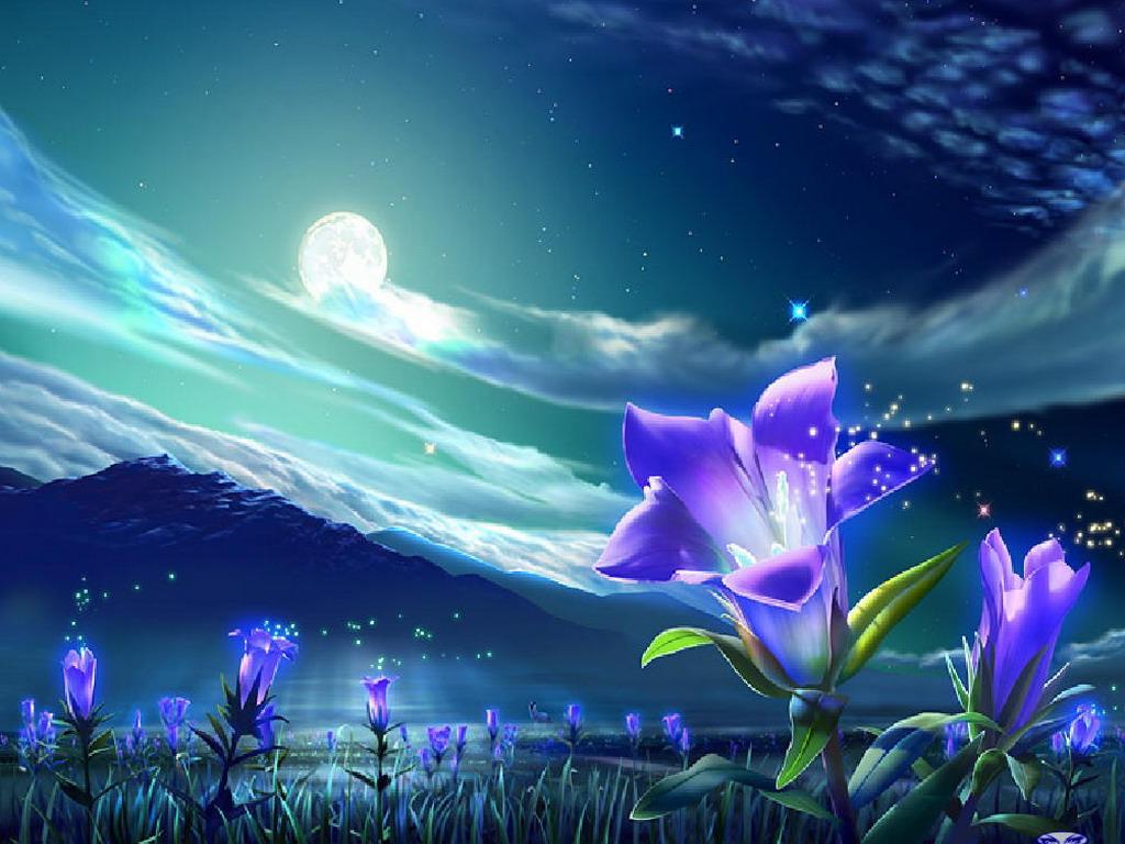 Обои 1024x768 волшебные цветы обои и