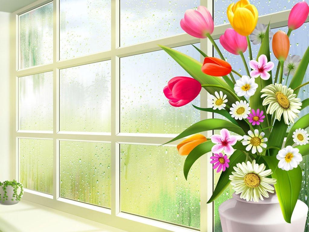 Картинки цветов в вазе нарисованные 6