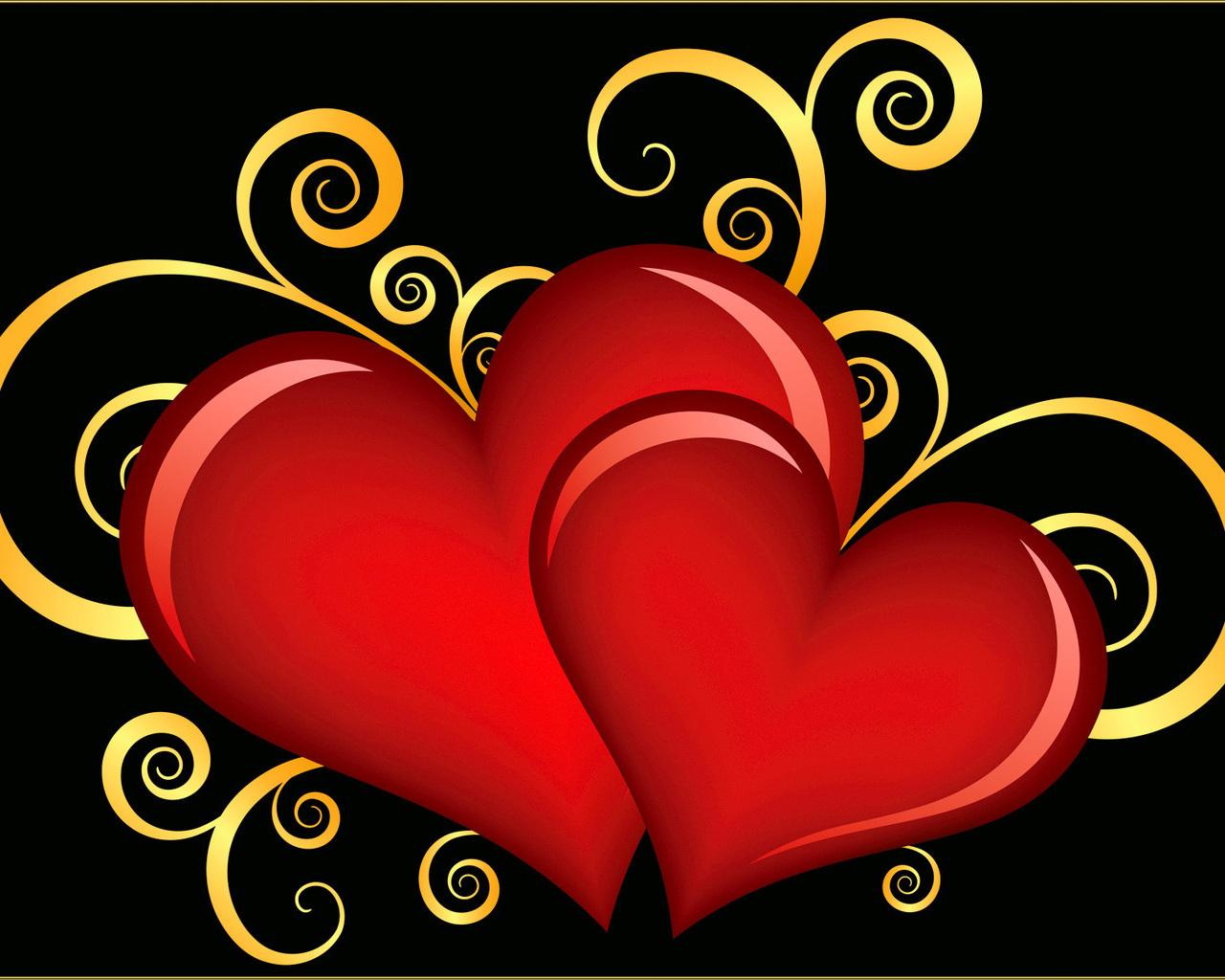 Открытка два сердечка на