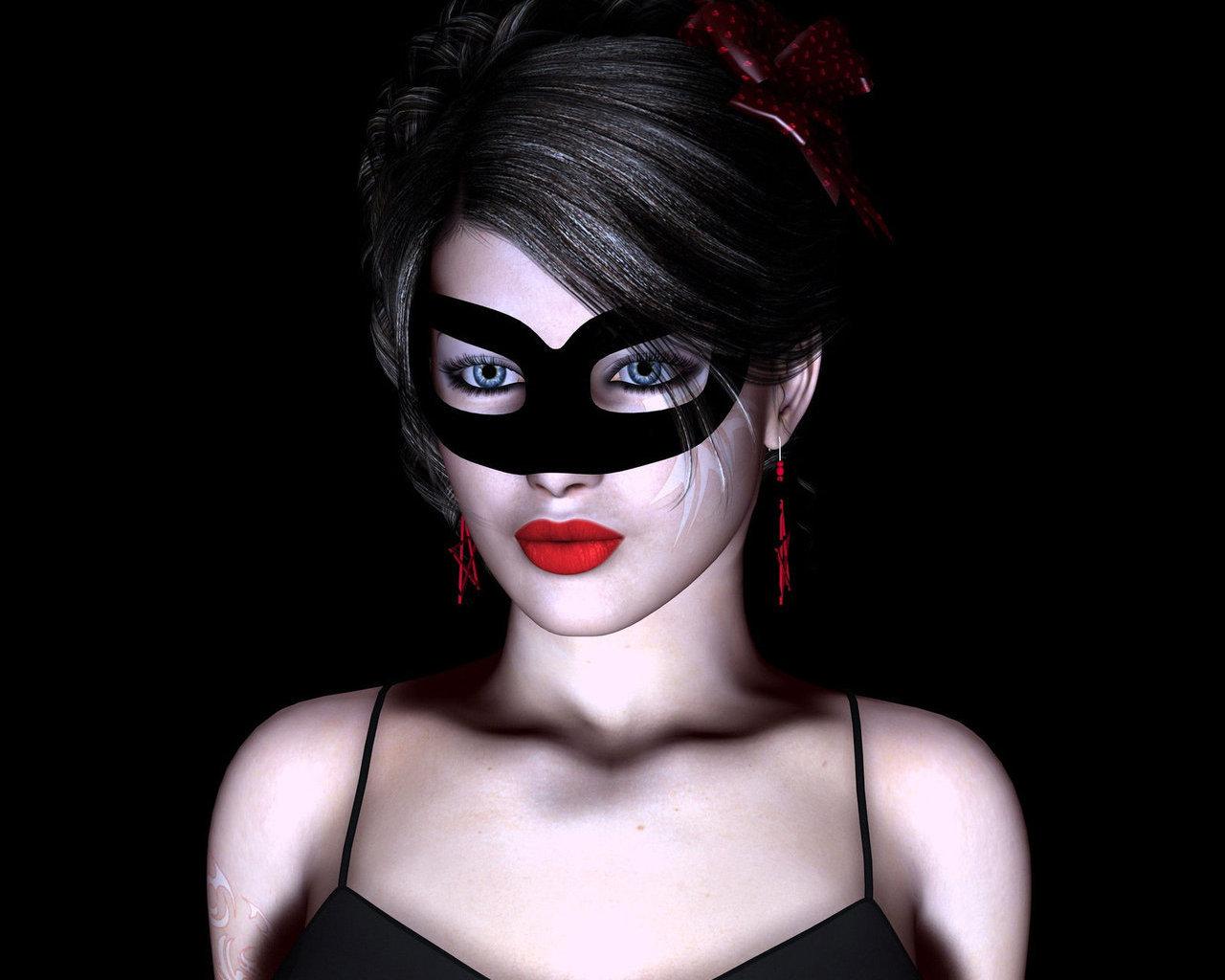 Фото девушки брюнетки в масках